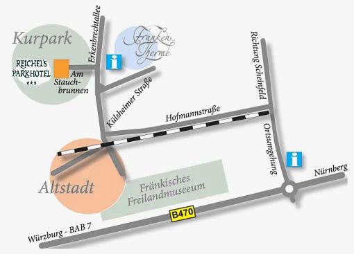 Anfahrt Kontakt Reichel's Parkhotel Reichels Bad WIndsheim
